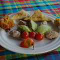 Caribbean guacamole, cod fritters, vegetables fritters